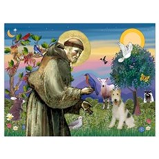 St. Francis & Wire Fox Terrier Poster
