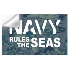 Navy Rules Blue Camo Wall Decal