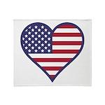 American Flag Heart Throw Blanket