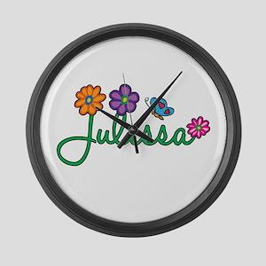 Julissa Flowers Large Wall Clock