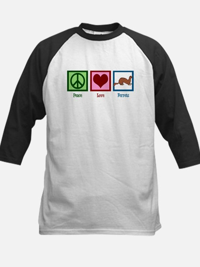 Peace Love Ferrets Kids Baseball Jersey
