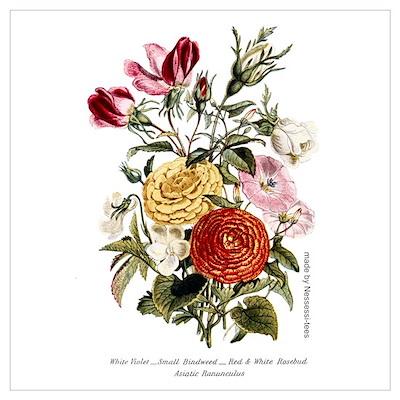 Violets & Rosebuds Poster