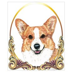 Welsh Corgi Christmas Gold Ring Poster