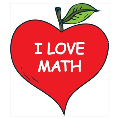 heart apple i love math poster