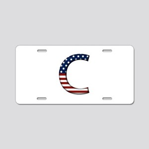 C Stars and Stripes Aluminum License Plate