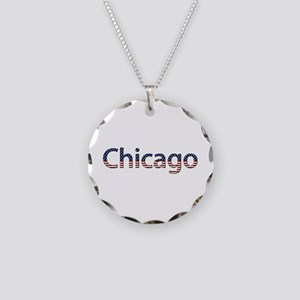 Chicago Stars and Stripes Necklace Circle Charm