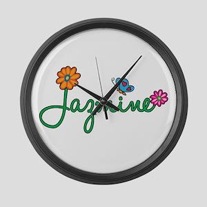 Jazmine Flowers Large Wall Clock