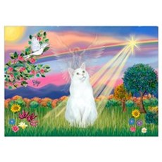Cloud Angel / (White) Cat Poster