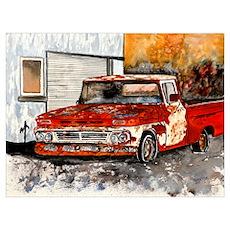 old pickup truck vintage anti Poster