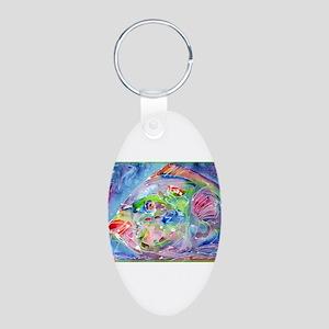 Blue Fish, art, Aluminum Oval Keychain