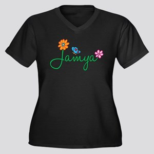 Jamya Flowers Women's Plus Size V-Neck Dark T-Shir