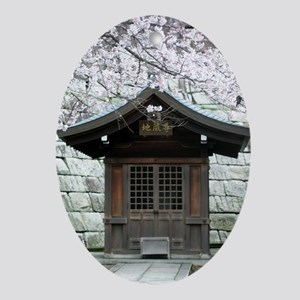 Cherry Blossoms and Shrine in Oval Ornament