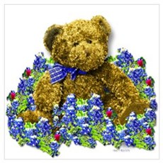 Bluebonnet Bear Poster