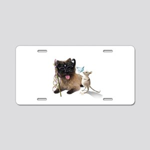 Cairn Terrier with Rat Aluminum License Plate