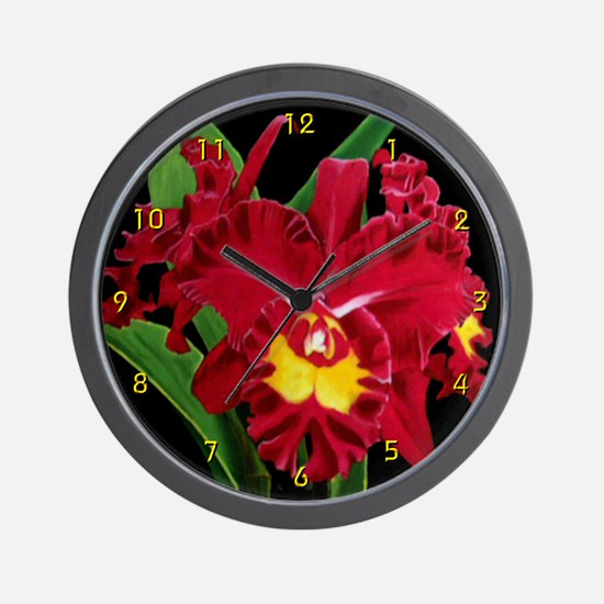 Orchid Oil on Canvas Wall Clock