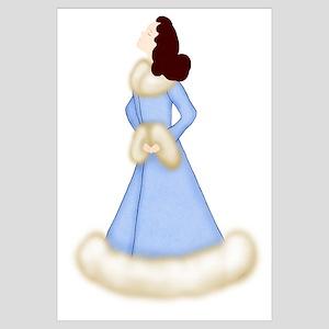 Brunette Diva in Fur-Trimmed Blue Robe