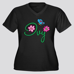 Ivy Flowers Women's Plus Size V-Neck Dark T-Shirt
