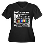 Support All Cancers Women's Plus Size V-Neck Dark