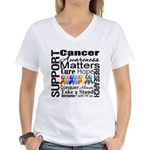 Support All Cancers Women's V-Neck T-Shirt