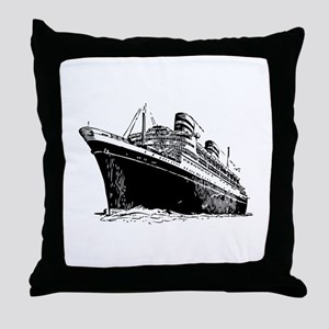 Ocean Liner Ship Throw Pillow