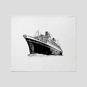 Ocean Liner Ship Throw Blanket