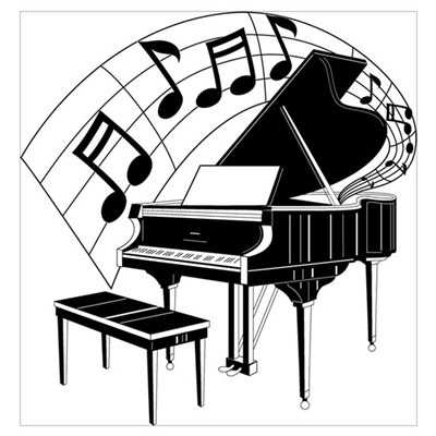 Grand piano notes poster for Small piano dimensions