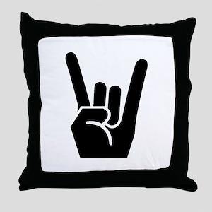 Rock Finger Symbol Throw Pillow