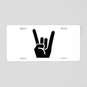 Rock Finger Symbol Aluminum License Plate