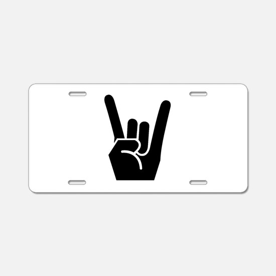 Rock Finger Symbol Aluminum License Plate