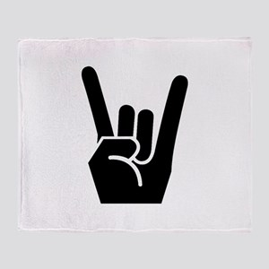 Rock Finger Symbol Throw Blanket