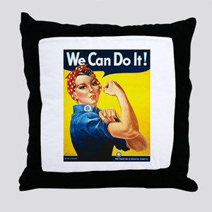 Rosie We Can Do It Throw Pillow