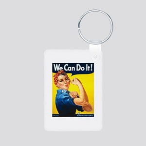 Rosie We Can Do It Aluminum Photo Keychain