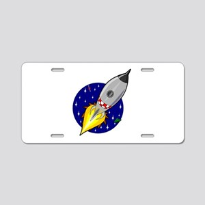 Spaceship Rocket Aluminum License Plate