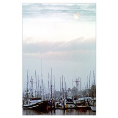 Low Moon Over Harbor Poster