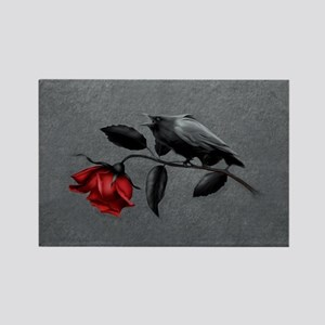 Gothic Crow on Rose Rectangle Magnet