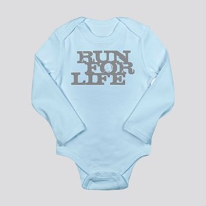 Run for Life Gray Long Sleeve Infant Bodysuit