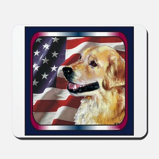Golden Retriever USA Flag Mousepad