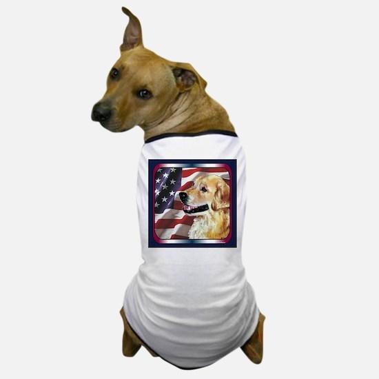 Golden Retriever USA Flag Dog T-Shirt