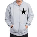 Black 5-Pointed Star Zip Hoodie