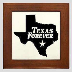 Texas Forever (White Letters) Framed Tile