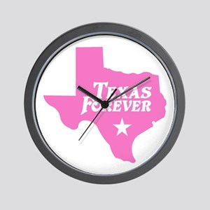 Texas Forever (Pink - Cutout Ltrs) Wall Clock