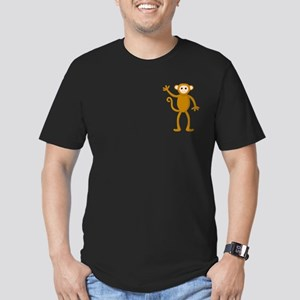 Cute Waving Monkey Men's Fitted T-Shirt (dark)