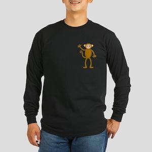 Cute Waving Monkey Long Sleeve Dark T-Shirt