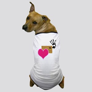 Pink Heart, Leopard Print and Hand Dog T-Shirt