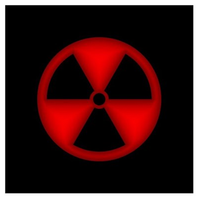 Embossed Red Radiation Symbol Poster