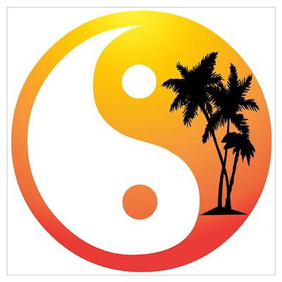 Palm Trees at Sunset Yin Yang Poster
