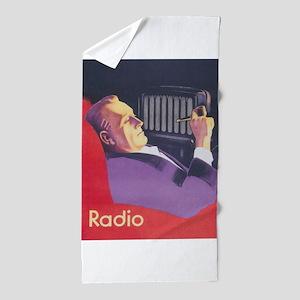 Man Smoking Pipe Vintage Poster Beach Towel