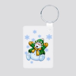 Happy Snowman Aluminum Photo Keychain