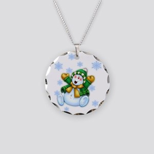 Happy Snowman Necklace Circle Charm