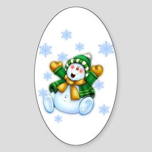 Happy Snowman Sticker (Oval)